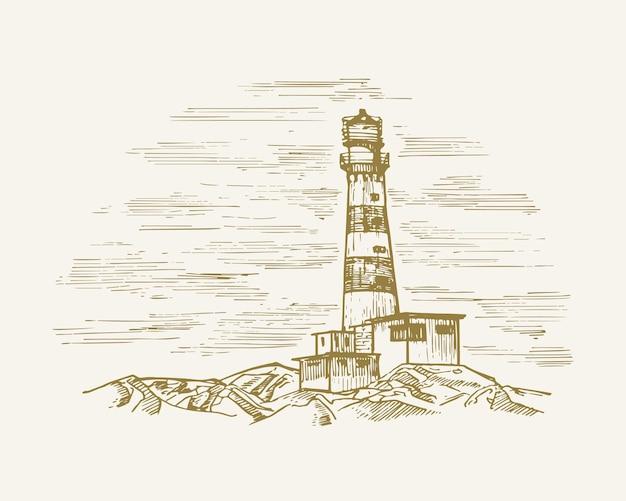 Ręcznie rysowane morze budynek krajobraz ilustracja wektorowa latarnia morska szkic wieś latarnia dom doodle i...