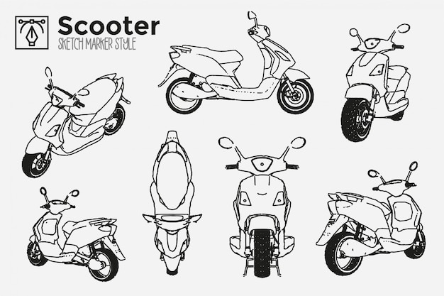 Ręcznie rysowane motocykl skuter. zbiór widoków na białym tle motocykl. rysunki efektów markera. edytowalne kolorowe sylwetki. premium.