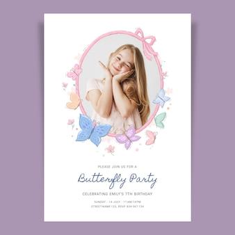 Ręcznie rysowane motyl urodziny zaproszenie szablon ze zdjęciem
