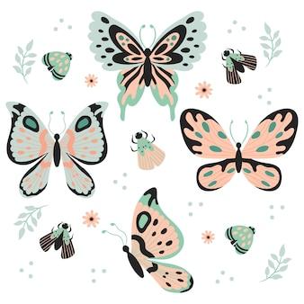 Ręcznie rysowane motyle, owady, kwiaty i rośliny wzór na białym tle