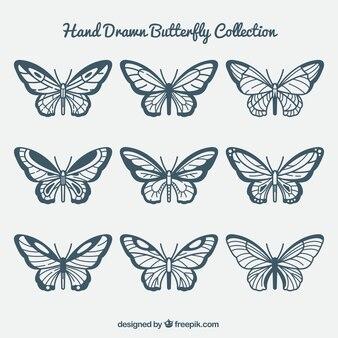 Ręcznie rysowane motyle z różnych wzorów