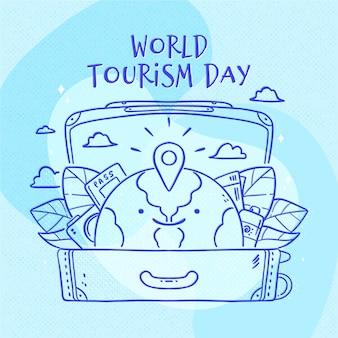 Ręcznie rysowane motyw dnia turystyki