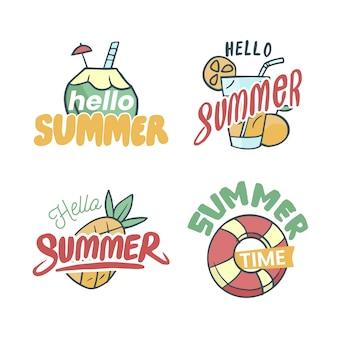 Ręcznie rysowane motyw etykiety letnie
