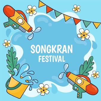 Ręcznie rysowane motyw festiwalu songkran