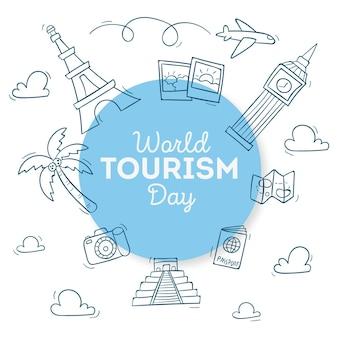 Ręcznie rysowane motyw ilustracji światowego dnia turystyki