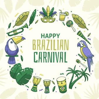 Ręcznie rysowane motyw imprezy karnawałowe brazylijski