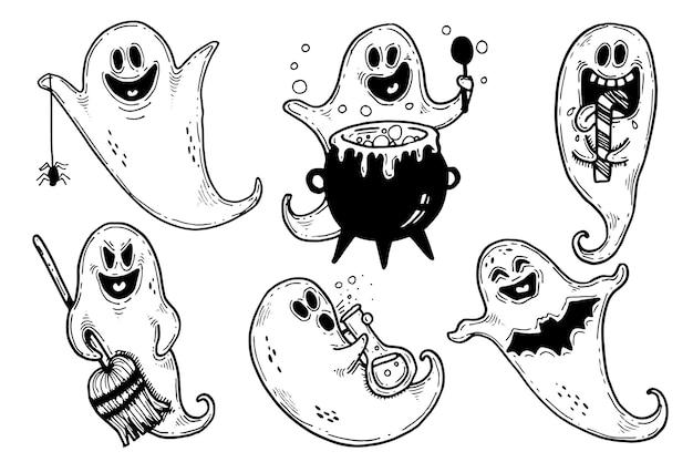 Ręcznie rysowane motyw kolekcji duchów halloween