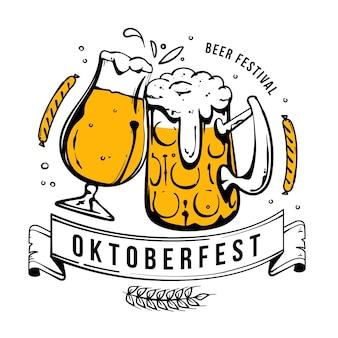 Ręcznie rysowane motyw oktoberfest