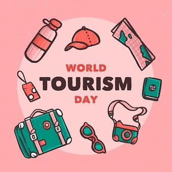 Ręcznie rysowane motyw światowego dnia turystyki