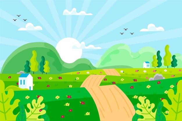 Ręcznie rysowane motyw wiosenny krajobraz