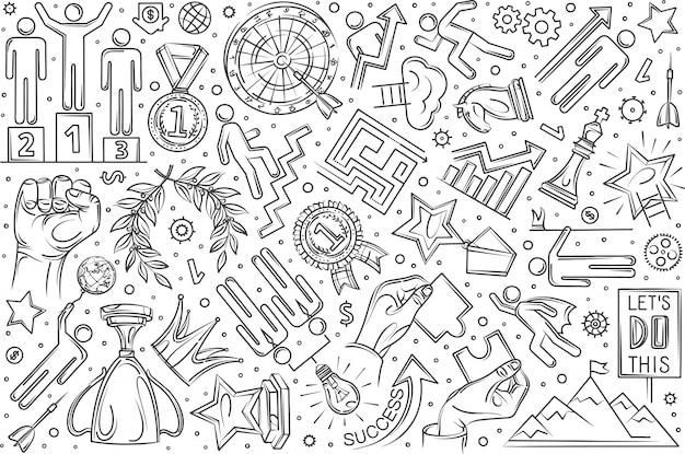 Ręcznie rysowane motywacja zestaw doodle tło