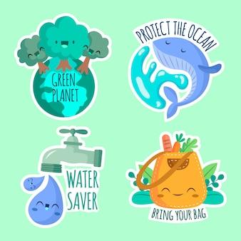 Ręcznie rysowane motywu odznaka ekologii