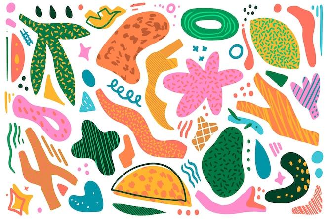 Ręcznie rysowane motywy organiczne kształty na tle