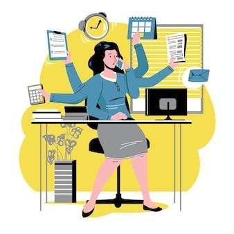 Ręcznie rysowane multitask business woman