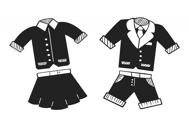 Ręcznie rysowane mundurek szkolny