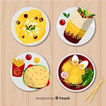 Ręcznie rysowane naczynia z widokiem z góry
