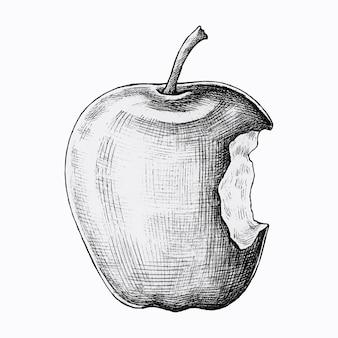 Ręcznie rysowane nadgryzione jabłko