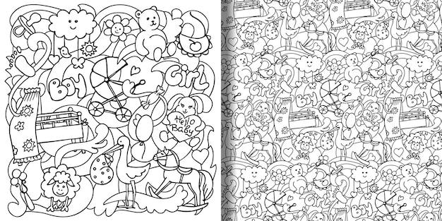Ręcznie rysowane nadruki dla dzieci i wzór bez szwu se na okładki kolorowanki koszulki tekstylne drukuje