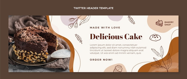Ręcznie rysowane nagłówek twitter pyszne ciasto