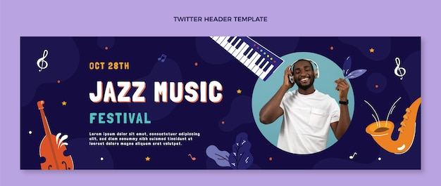 Ręcznie rysowane nagłówek twittera festiwalu muzycznego