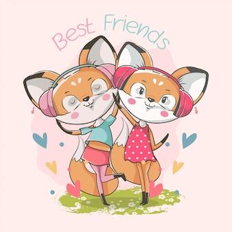 Ręcznie rysowane najlepszych przyjaciół słodkie dziewczynki lis
