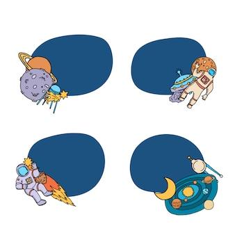 Ręcznie rysowane naklejki elementy statku kosmicznego