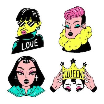 Ręcznie rysowane naklejki różnych stylów kobiet