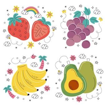 Ręcznie rysowane naklejki z owocami i warzywami