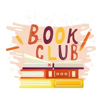 Ręcznie rysowane napis book club napis na zaproszenie i kartkę z życzeniami, promo, wydruki, ulotki, okładki i plakaty. vintage ilustracji wektorowych z otwartymi książkami