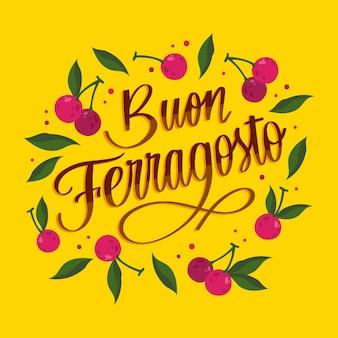 Ręcznie rysowane napis buon ferragosto