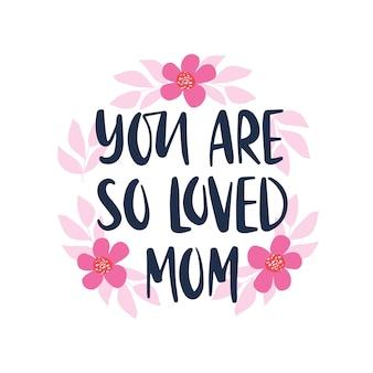 Ręcznie rysowane napis cytat. dzień matki