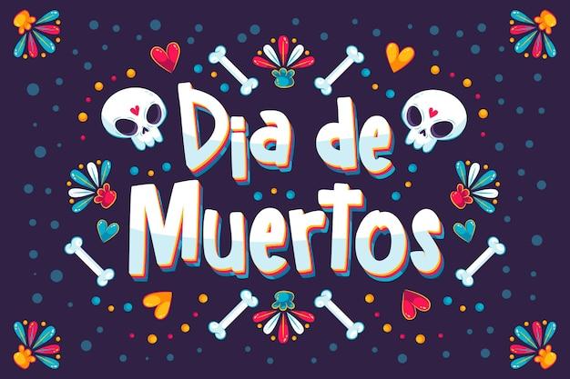 Ręcznie rysowane napis dia de muertos