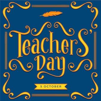 Ręcznie rysowane napis dzień nauczyciela