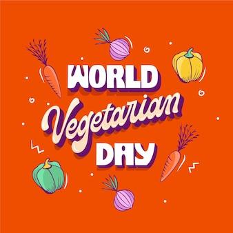 Ręcznie rysowane napis dzień wegetariański płaski świat