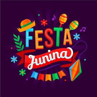 Ręcznie rysowane napis festa junina