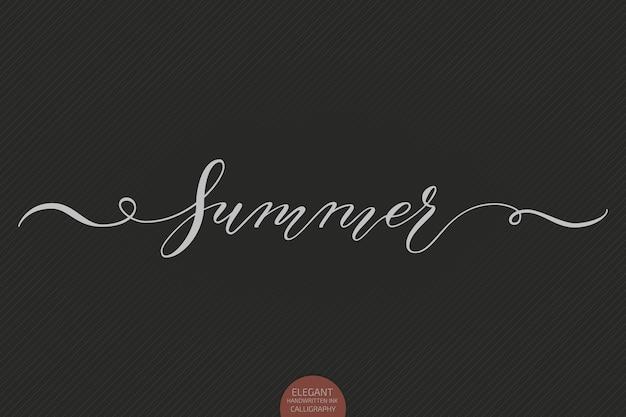 Ręcznie rysowane napis lato. elegancki nowoczesny odręczny kaligrafia.