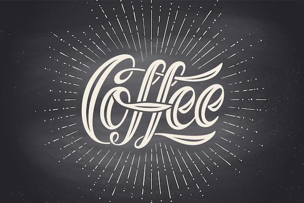 Ręcznie Rysowane Napis Napis Kawa Na Czarnej Tablicy. Premium Wektorów