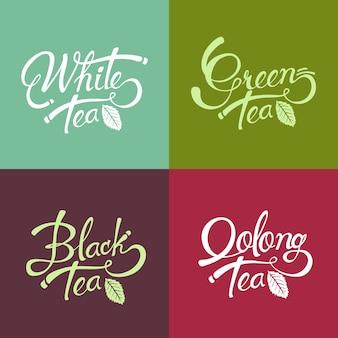 Ręcznie rysowane napis projekt czarna herbata - zielona herbata - biała herbata - herbata oolong