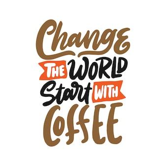 Ręcznie rysowane napis rocznika kawy