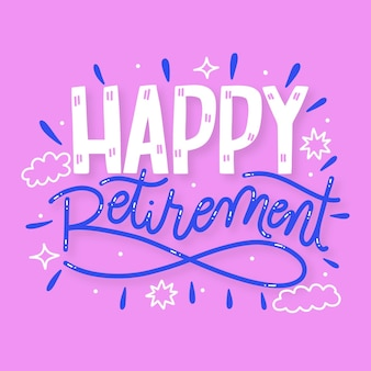 Ręcznie rysowane napis szczęśliwy emerytury