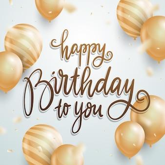 Ręcznie rysowane napis urodzinowy z realistycznymi złotymi balonami