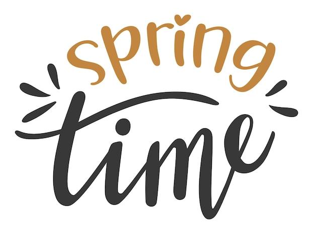 Ręcznie rysowane napis wiosna czas