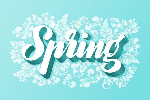 Ręcznie rysowane napis wiosna na kwiatach