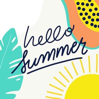 Ręcznie rysowane napis witaj lato