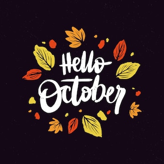 Ręcznie rysowane napis witam października
