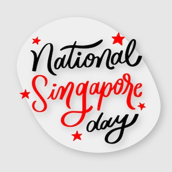Ręcznie rysowane napis z okazji święta narodowego singapuru