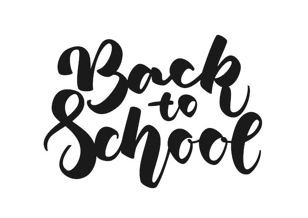 Ręcznie rysowane napis z powrotem do szkoły na białym tle