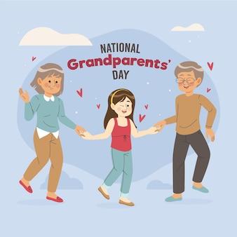Ręcznie rysowane narodowy dzień dziadków z wnuczką