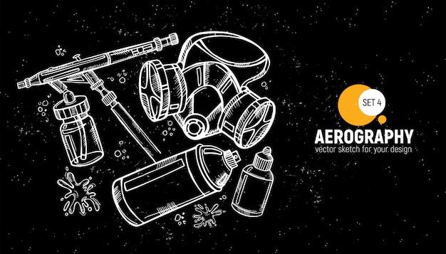 Ręcznie rysowane narzędzia aerograficzne.
