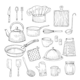 Ręcznie rysowane narzędzia kuchenne. sprzęt kuchenny przybory kuchenne naczynia vintage szkic wektor zbiory